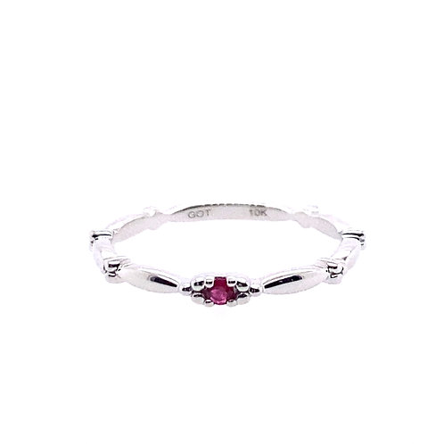 10kt White Gold Ruby Stackable Ring
