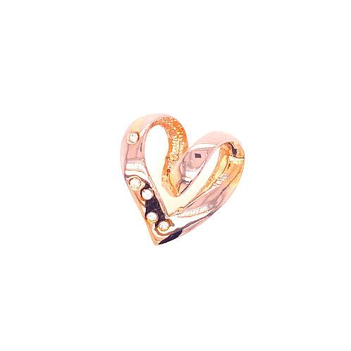 Estate 14kt Yellow Gold Diamond Heart Slide