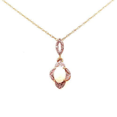 14kt Yellow Gold Opal And Diamond Pendant