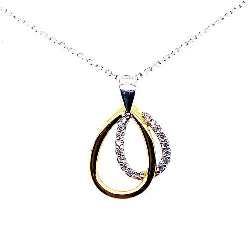 Sterling Silver Two Toned Double Cubic Zirconia Tear Drop Pendant