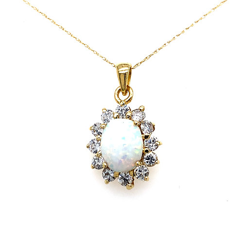 Estate 14kt Yellow Gold Opal And Cubic Zirconia Pendant