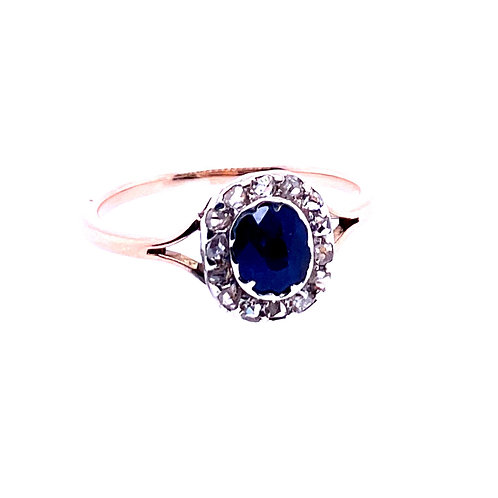 Estate 10kt Yellow Gold Blue Sapphire And Diamond Ring