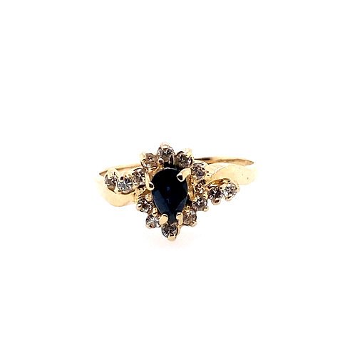 Estate 14kt Yellow Gold Sapphire And Diamond Lady's Ring