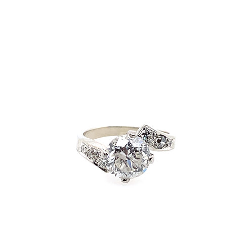 Estate 14kt White Gold Transitional Cut Diamond Bypass Ring With Side Diamonds