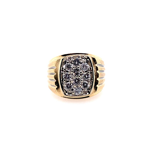 Estate 14kt Yellow Gold Gents Diamond Cluster Ring