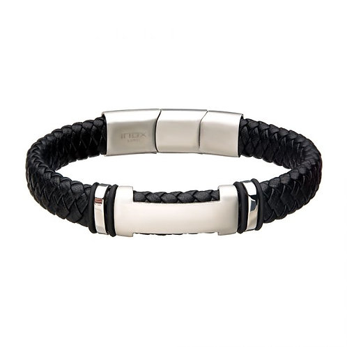 Stainless Steel Black Leather Braid Bracelet