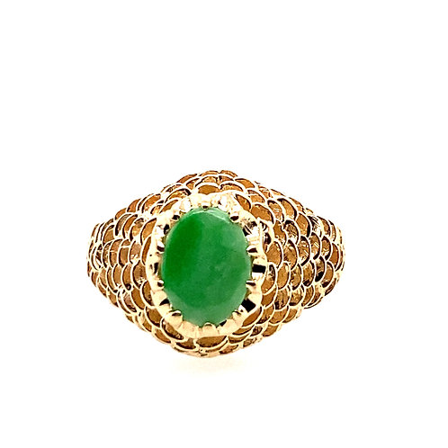 Estate 14kt Yellow Gold Jade Nugget Ring