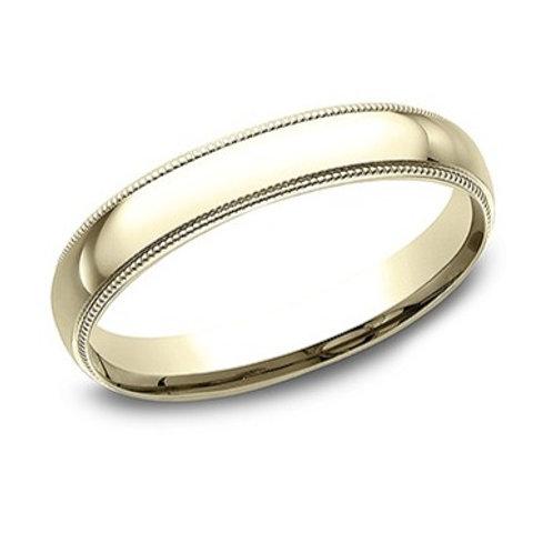 14kt Yellow Gold Ladies Comfort Fit Milgrain Edge Wedding Band