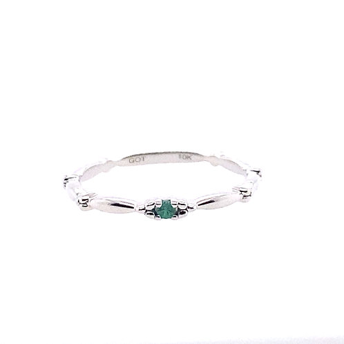 10kt White Gold Emerald Stackable Ring
