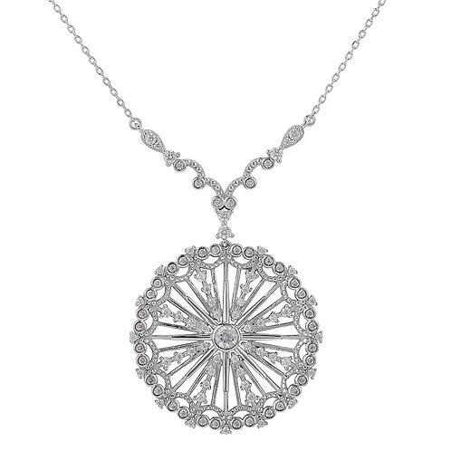 Sterling Silver Cubic Zirconia Pinwheel Design Necklace