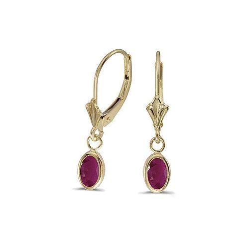 14kt Yellow Gold Ruby Leverback Earrings