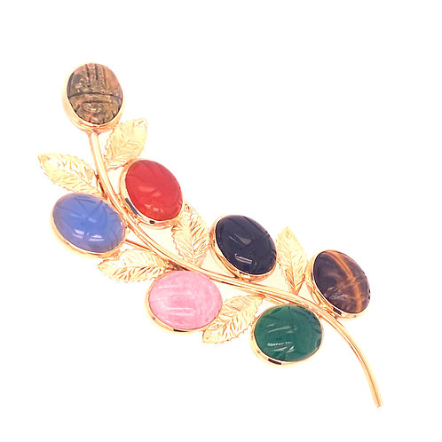 Estate 14kt Yellow Gold Scarab Brooch