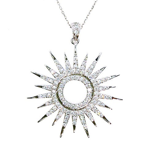 Sterling Silver Cubic Zirconia Large Sun Dial Pendant