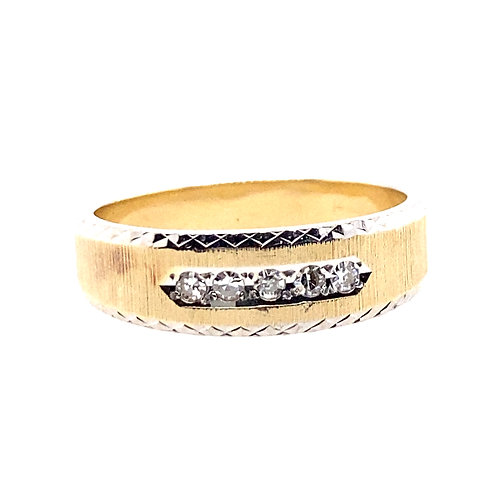 Estate 14kt Two Toned Gents Diamond Wedding Band