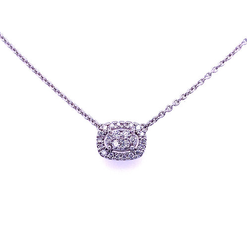 10kt White Gold Oval Diamond Pendant