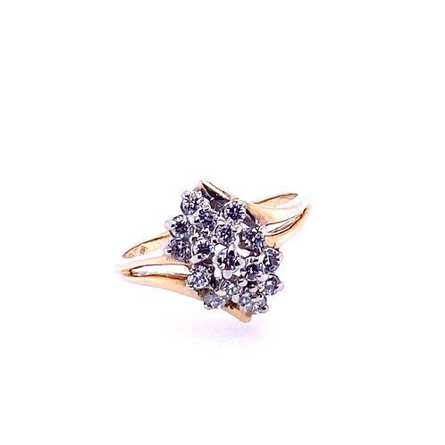 Estate 14kt Yellow Gold Diamond Cluster Ring