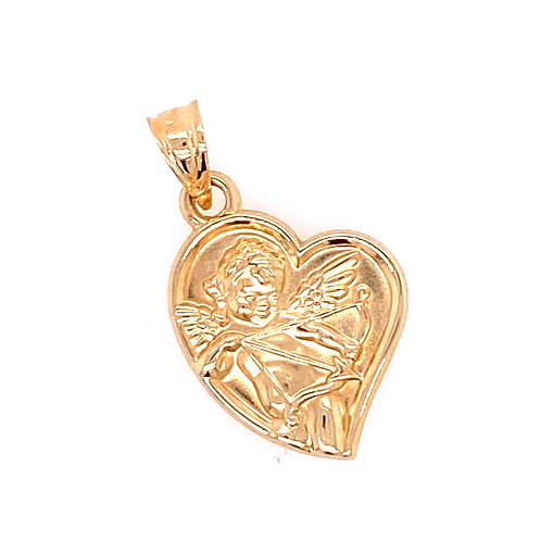 Estate 14kt Yellow Gold Heart Angel Charm