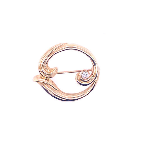 Estate 14kt Yellow Gold Diamond Circle Brooch
