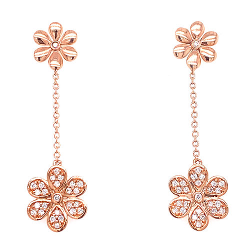 10kt Rose Gold Diamond Flower Dangle Earrings