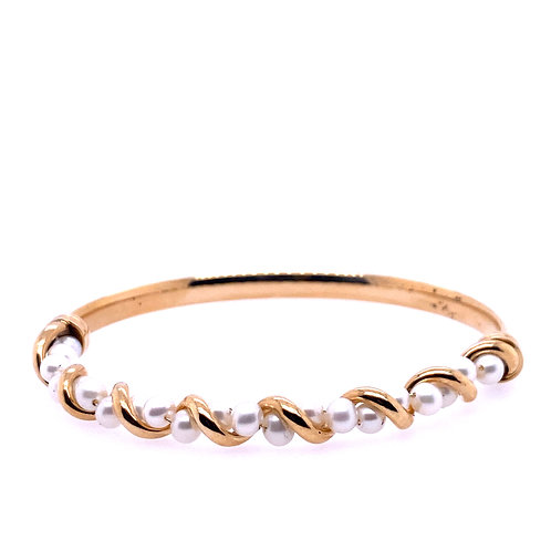 Estate 10kt Yellow Gold Pearl Bangle Bracelet