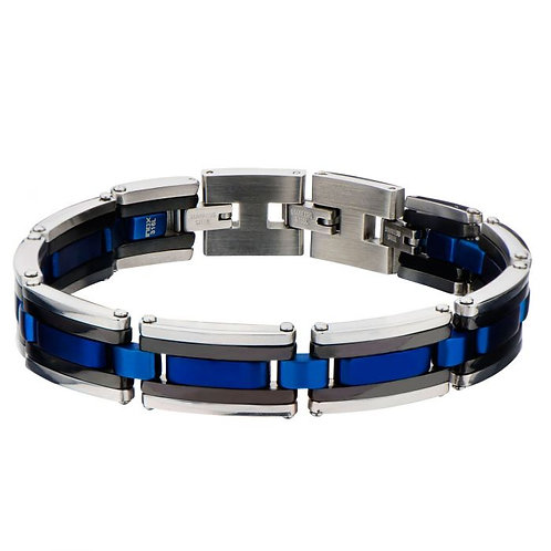 Stainless Steel Black With Electric Blue Link Bracelet