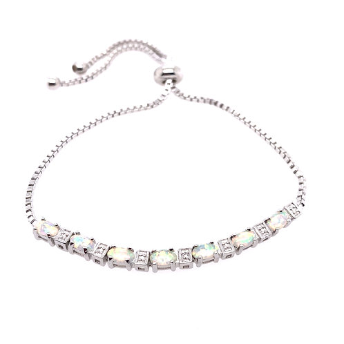 Sterling Silver Cubic Zirconia And Synthetic Opal Bolo Bracelet
