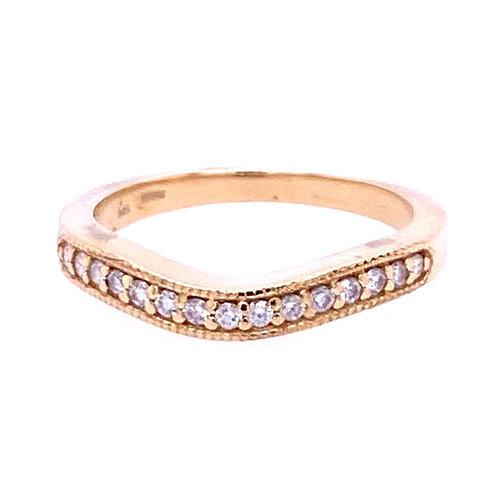14kt Yellow Gold Diamond Curved Wedding Band