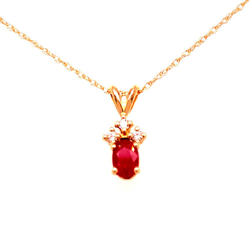 14kt Yellow Gold Ruby And Diamond Pendant