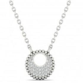 14kt White Gold Round Diamond Pendant