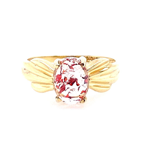 Estate 10kt Yellow Gold Strawberry Quartz Cabochon Ring