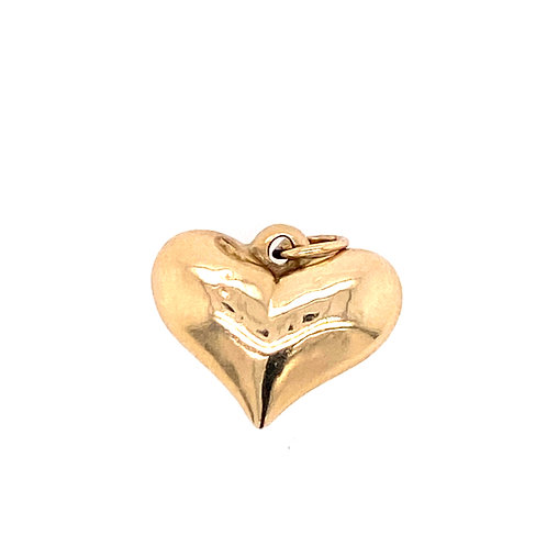 Estate 14kt Yellow Gold Puff Heart Charm
