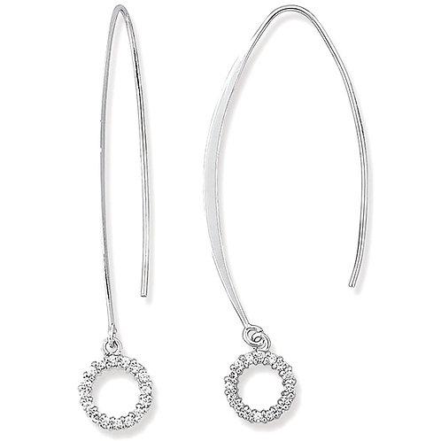Sterling Silver Dangle Cubic Zirconia Circle Earrings