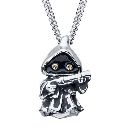 Sterling Silver Star Wars Jawa With Crystal Eyes Pendant