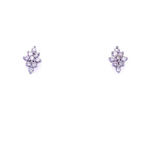 14kt White Gold Cluster Diamond Shape Earrings