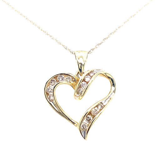 Estate 10kt Yellow Gold Diamond Heart Pendant