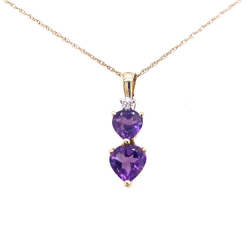 Estate 10kt Yellow Gold Amethyst Double Heart And Diamond Pendant