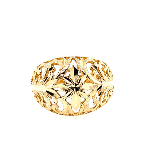 Estate 14kt Yellow Gold Filigree Dome Style Ring