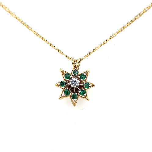 Estate 14kt Yellow Gold Emeralds And Diamond Pendant