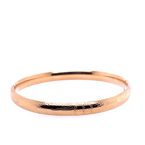 Estate 14kt Yellow Gold Engraved Design Bangle Bracelet