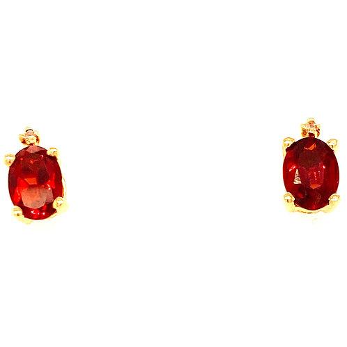 Estate 10kt Yellow Gold Oval Garnet With Diamond Earrings