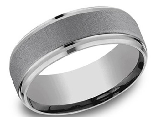 Titanium Satin Beveled Edge Men's Wedding Band