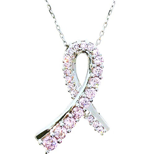 Sterling Silver Pink Cubic Zirconia Breast Cancer Ribbon Pendant