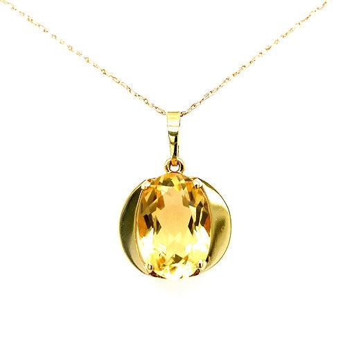Estate 14kt Yellow Gold Oval Citrine Pendant