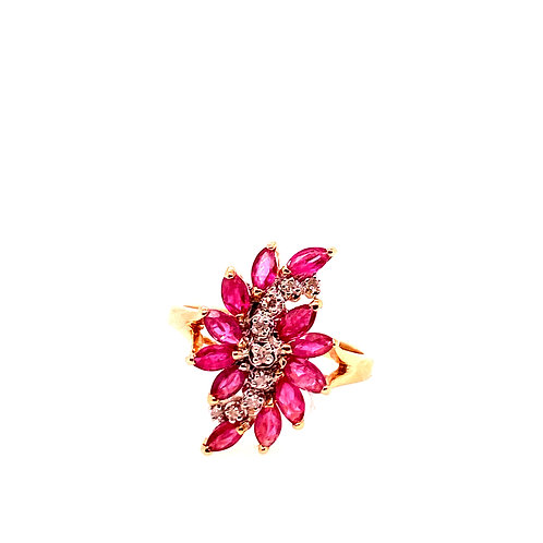 Estate 14kt Yellow Gold Ruby Cluster With Diamonds Ring