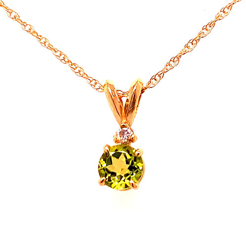 14kt Yellow Gold Peridot And Diamond Pendant