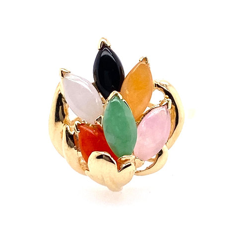 Estate 14kt Yellow Gold Multi Colored Jade Cocktail Ring