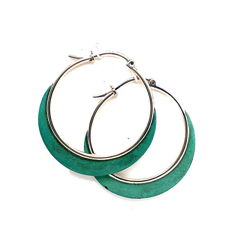 Sterling Silver And Brass Oxidized Green Hoop Earrings