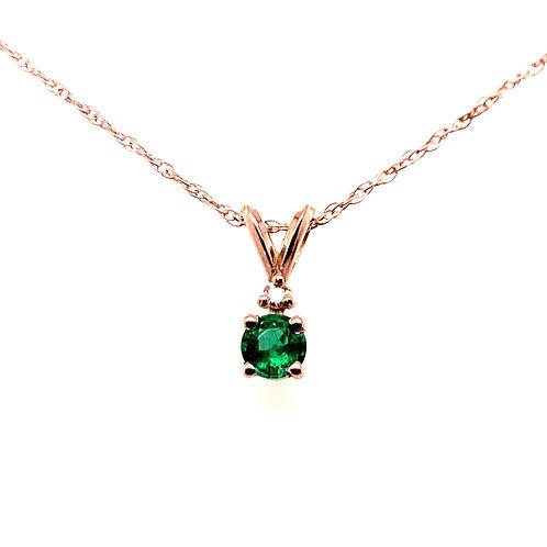 14kt White Gold Emerald And Diamond Pendant