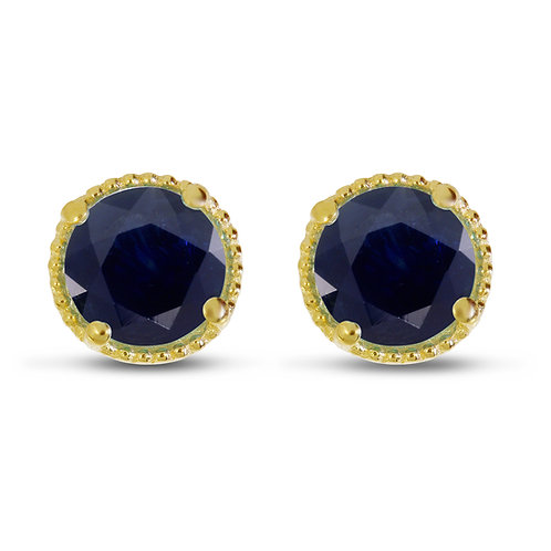 14kt Yellow Gold Blue Sapphire Earrings