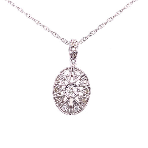 Sterling Silver Oval Filigree Diamond Pendant